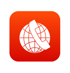 handset and globe icon digital red vector image vector image
