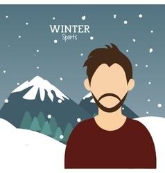 Man bearded winter sport alps mountains snow vector