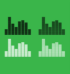 music equalizer icon black and white color set vector image vector image