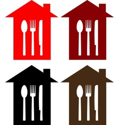 set of restaurant sign with house spoon fork and vector image vector image