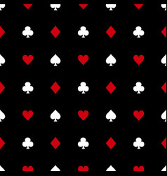white and red card suits on black background vector image