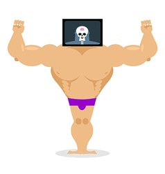 X-ray head bodybuilder large muscles and small vector image vector image