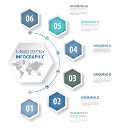 6 modern and clean hexagon design elements vector image