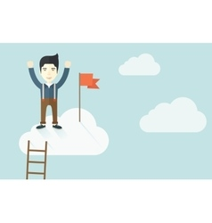 Asian man standing on the top of cloud with red vector image