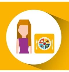 avatar girl plate food healthy vector image