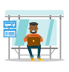 black man waiting for a bus at the bus stop vector image