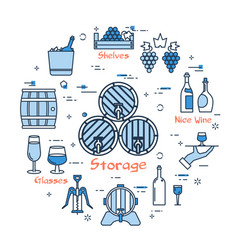 blue round storage of wine concept vector image