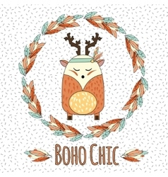 Boho deer in feather wreath in hand drawn style vector image