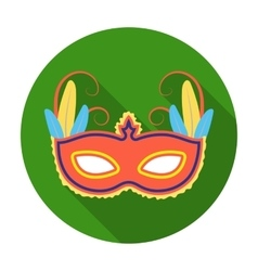 Brazilian carnival mask icon in flat style vector image