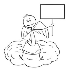Cartoon angel sitting on cloud and holding vector