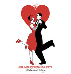 charleston party valentines day dance couple vector image