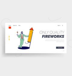 Cheerful businessman burning startup petard vector
