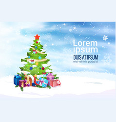 christmas banner with copy space decorated fir vector image