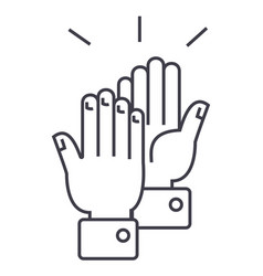 clapping hands line icon sig vector image