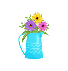 colorful flowers bouquet in blue vase vector image