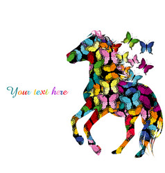 Colorful with patterned horse and butterflies vector