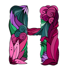 coloring freehand drawing capital letter h vector image