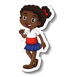 Cute african girl cartoon character sticker vector