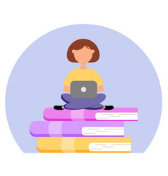 cute girl with laptop sits on books vector image