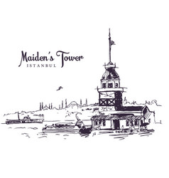 drawing sketch maidens tower vector image