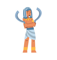 Egyptian man character with blade wearing vector