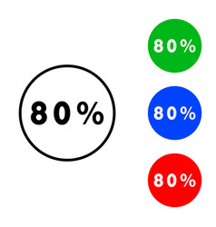 eighty percentage circle icon vector image