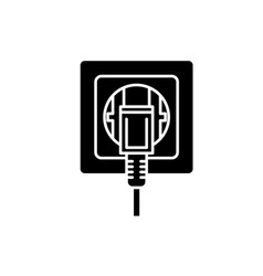 electric outlet black icon sign on vector image