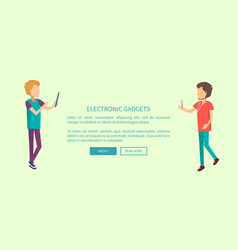 electronic gadgets web banner with two teenagers vector image