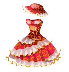 elegant red classic dress with hat vector image