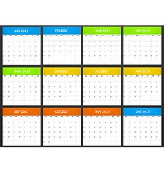 European Planner blank for 2017 Scheduler agenda vector image
