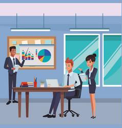 Executive business coworkers cartoon vector