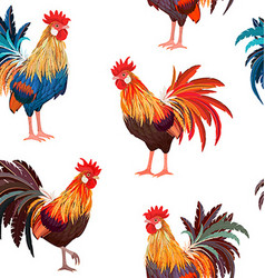 fashion seamless texture with colorful roosters vector image