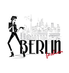 Fashion woman in sketch style in berlin vector