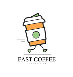 fast coffee logo design food service delivery vector image