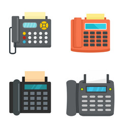 fax machine telephone icons set flat style vector image
