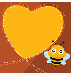 Flying bee and heart shape vector image vector image