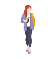Girl In Leggings And Jacket With Coffee Paper Cup vector