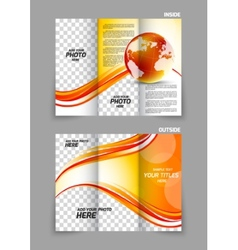 Globe wave tech tri-fold brochure vector image