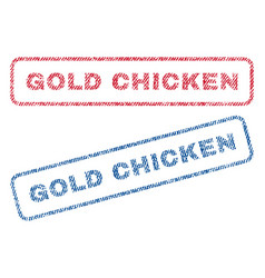 Gold chicken textile stamps vector