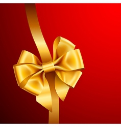 Golden bow on red background vector