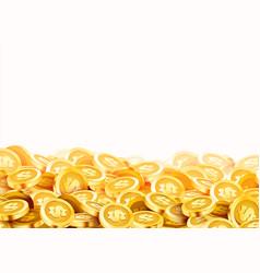 Golden shiny coins big bunch old metal money vector