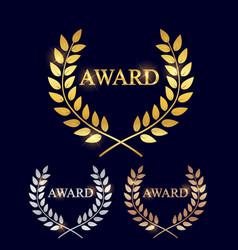 Golden silver and bronze award laurel wreath vector