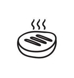 grilled steak sketch icon vector image