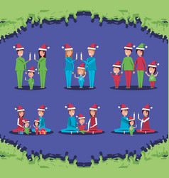 group of family members with christmas clothes vector image