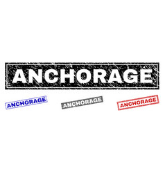 grunge anchorage scratched rectangle watermarks vector image