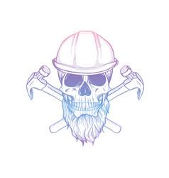 Hand drawn sketch skull with helmet vector