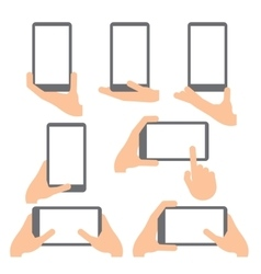 Hand gestures line icons set vector