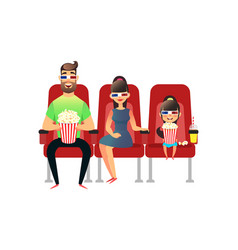 Happy family watching movie in the cinema mom vector