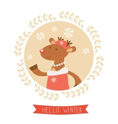 Hello winter card with cute deer girl portrait vector