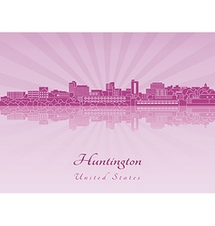 Huntington skyline in purple radiant orchid in vector